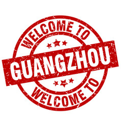 Welcome to guangzhou red stamp vector