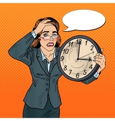 Stressed pop art business woman with big clock vector
