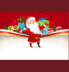 Festive background with Santa Claus vector image