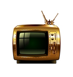 Steampunk retro tv isolated on white vector