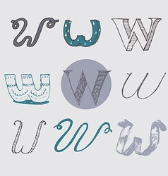 Original letters w set isolated on light gray vector