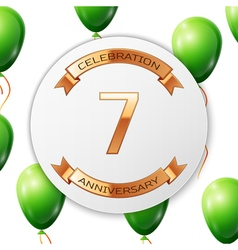 Golden number seven years anniversary celebration vector