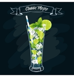 Alcoholic cocktail mojito vector