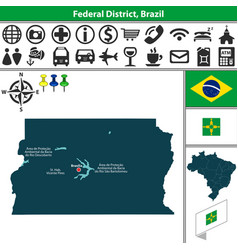 Map of federal district brazil vector