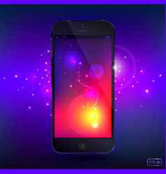 Smart phone with shine background vector