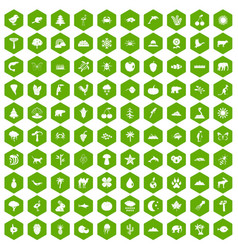 100 nature icons hexagon green vector