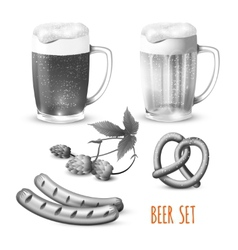 Beer set black and white vector