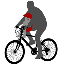Bicyclist with baby in bicycle chair vector