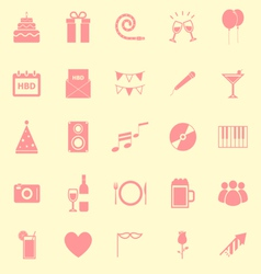 Birthday color icons on yellow backgound vector