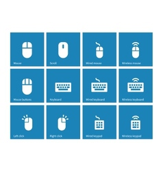 Mouse and keyboard icons on blue background vector