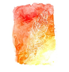 Feather painted live watercolor paint vector