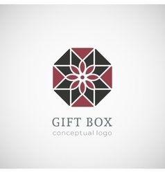 Gift box logo isolated on white vector