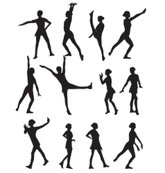 Silhouette of a dancing woman vector