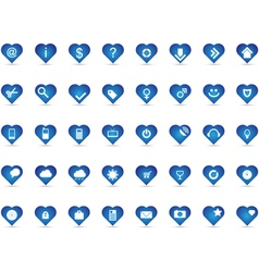 Blue heart icons vector