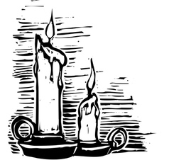 Woodcut candles vector