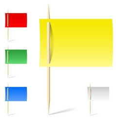 Set color papers on toothpicks vector image