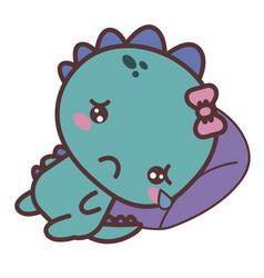 A dinosaur sad girl crying lying on a pillow vector