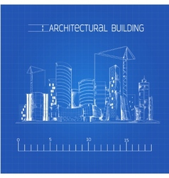 Architectural building blueprint vector image vector image