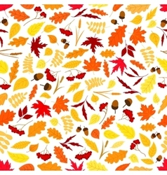 Autumn leaves with acorns seamless pattern vector