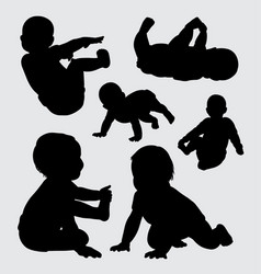 baby playing silhouette vector image vector image