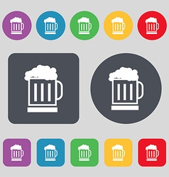 Beer glass icon sign a set of 12 colored buttons vector