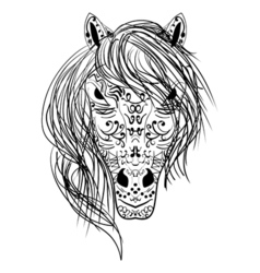 black and white sketch horse head Zen-tangle vector image vector image
