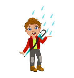 Boy in red jacket catching raindrops kid in vector