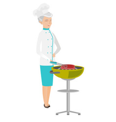 Caucasian chef cooking meat on barbecue grill vector