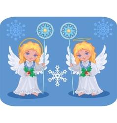 Christmas cute angels set vector