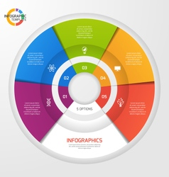 Circle infographic template 5 options vector