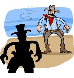 cowboy duel m vector image