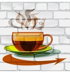 Cup of hot coffee glass arrow on the wall vector image