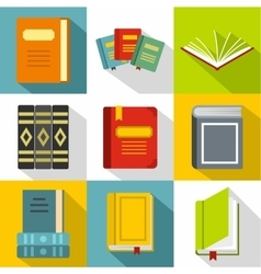 Education book icons set flat style vector