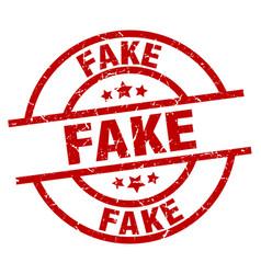 Fake round red grunge stamp vector