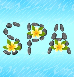 Lettering spa made of pebbles and frangipani vector
