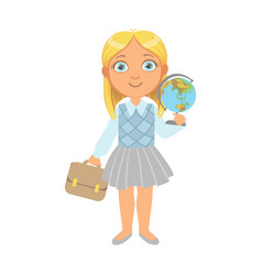 little schoolgirl standing and holding globe and vector image