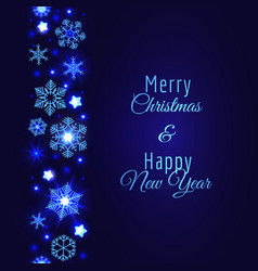 Merry christmas card with blue snowflake vector