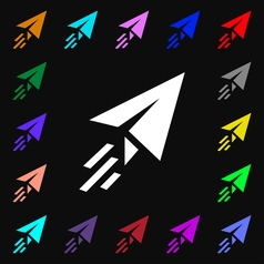 Paper airplane icon sign Lots of colorful symbols vector image