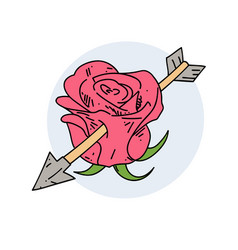 rose with an arrow in it vector image vector image