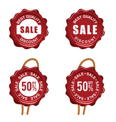 seal wax with sale on it set in red color vector image vector image