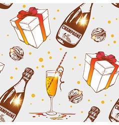 Seamless pattern with champagne vector image vector image