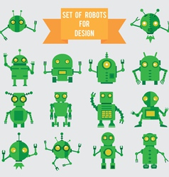 Set of green robots for design vector image vector image