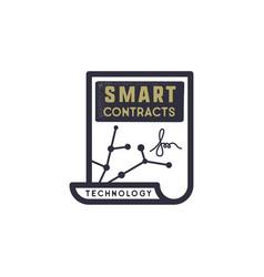 Smart contract ethereum based emblem blockchain vector