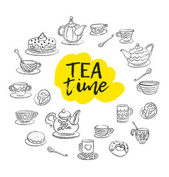 tea time swirls mugs teapot cakes buns cups vector image