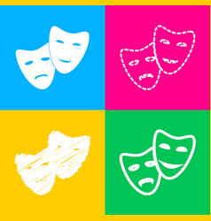 Theater icon with happy and sad masks four styles vector