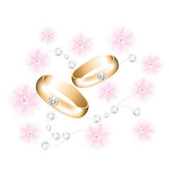 vector golden wedding rings with diamonds vector image vector image