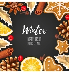 Winter card with gingerbread vector