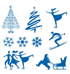 Winter christmas design elements vector image vector image