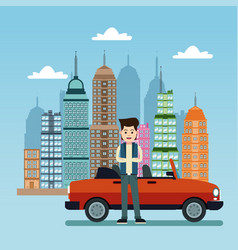 Young man with car city background vector