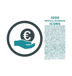 Euro salary hand rounded icon with 1000 bonus vector